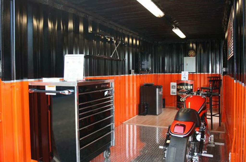 Shipping Container Garage Harley Davidson Garage Design Motorcycle Garage Garage Design Interior