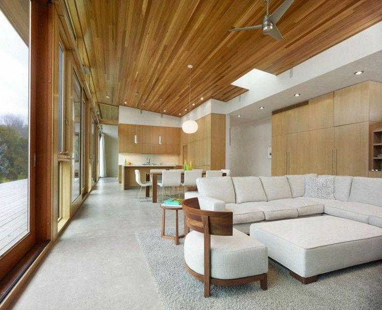 Techos de madera para salas de estar cielo raso madera for Modelos de cielo raso para salas