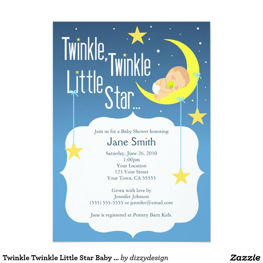 Twinkle Twinkle Little Star Baby Shower Invite | baby shower ...