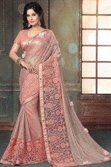 0e737d73a0 Peach Indian Bollywood Style Party Wear Designer Saree #peach #mahotsav  #fancy