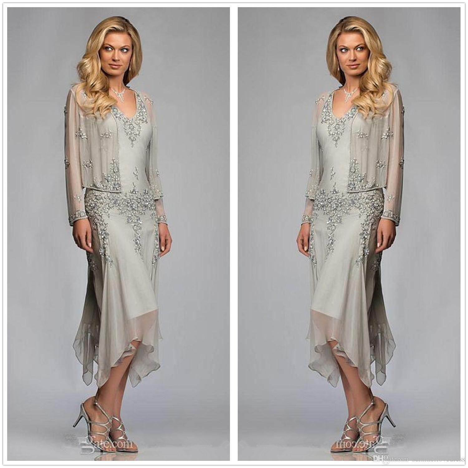 Chiffon Long Sleeve V Neck Tea Length Mother Of Bride Dress Guest Party Dresses