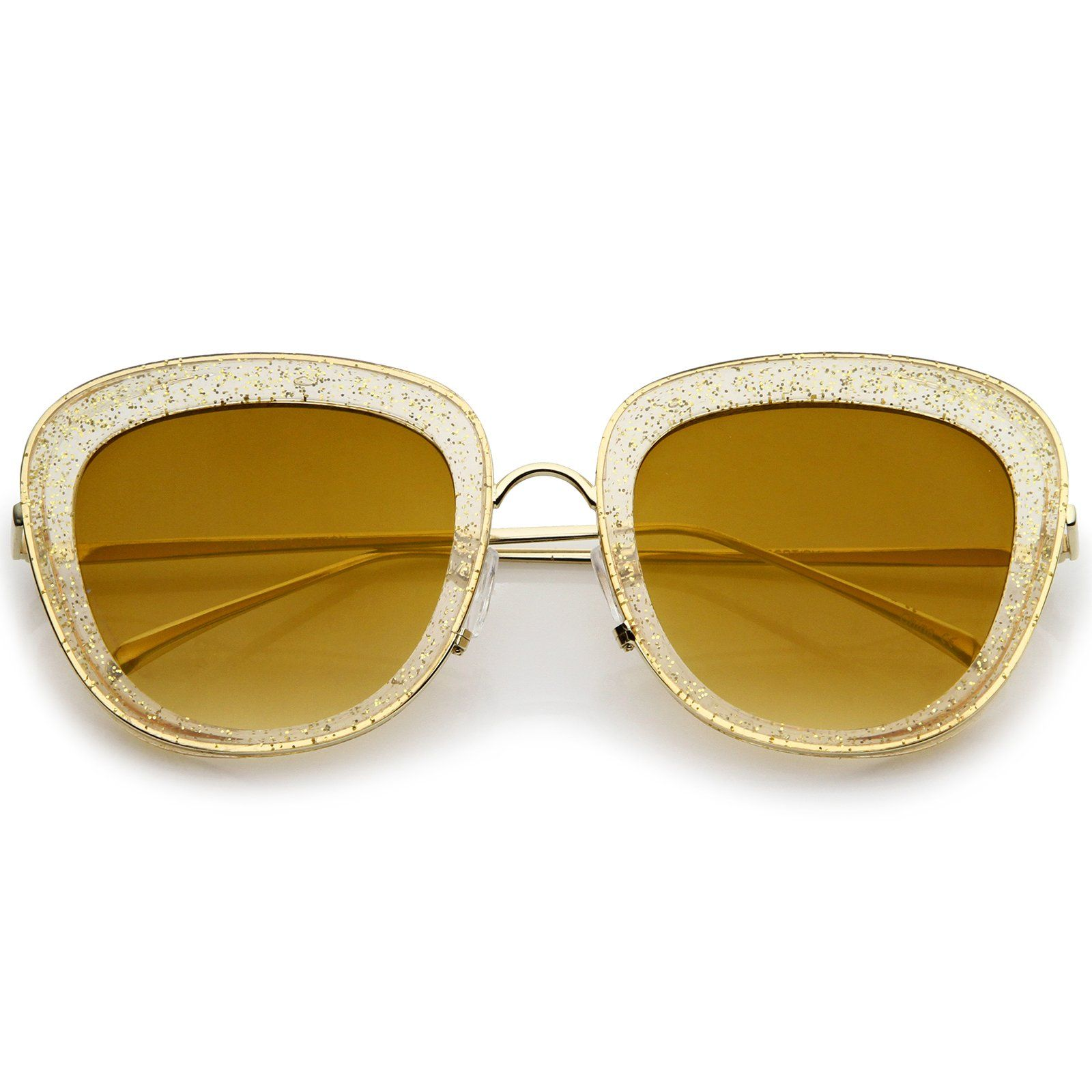 4fb7bb838f44f Transparent Glitter Frame Square Colored Mirror Lens Oversize Sunglasses  53mm