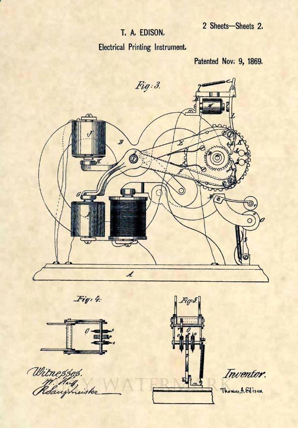 Official Thomas Edison Ticker Tape US Patent Art Print- Stock - stock broker job description