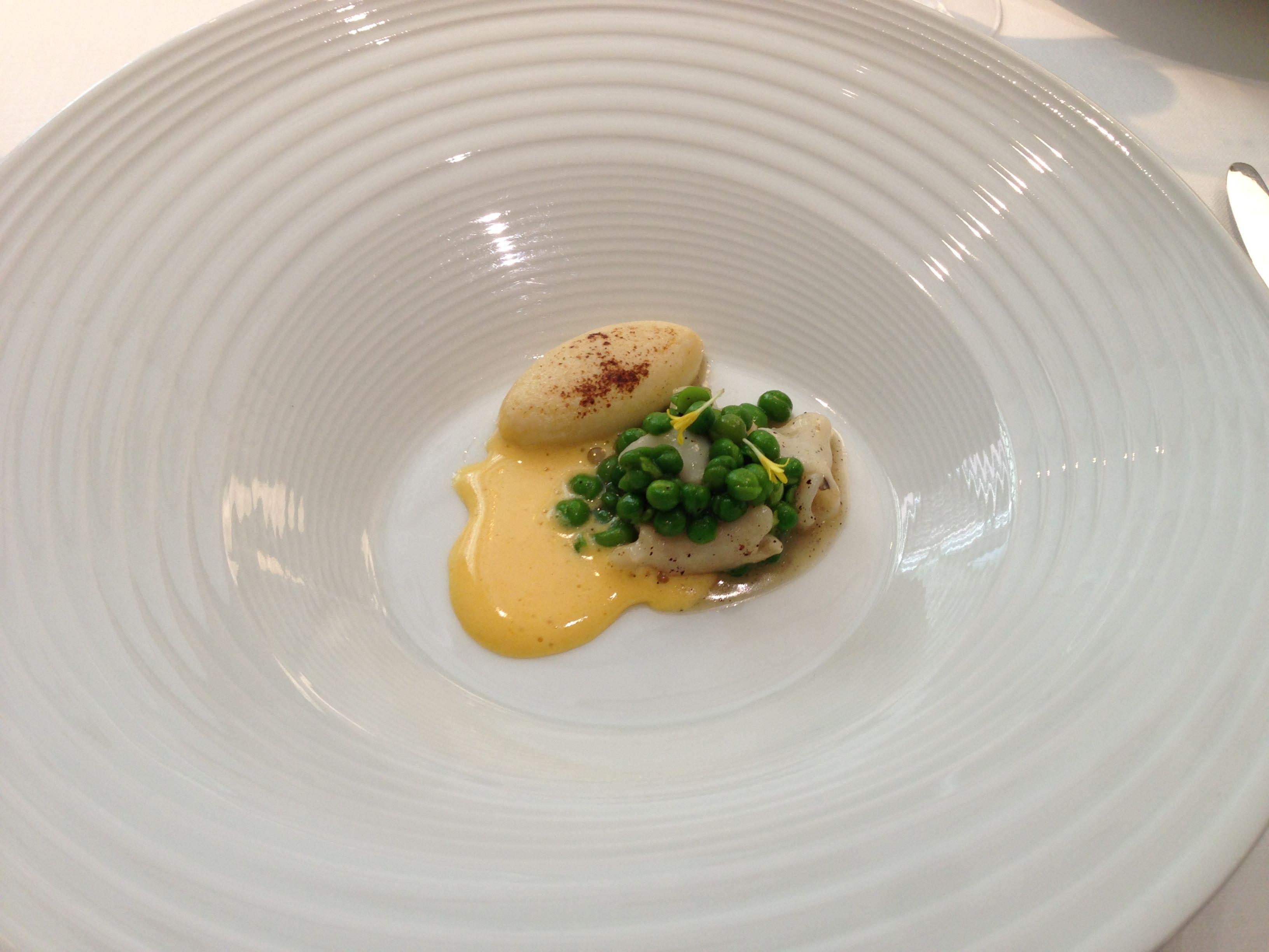 Peas, cod, omelette at Ramon Freixa in Madrid Spain