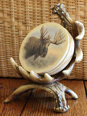 antler decorations | New Resin Moose Antler Country Large Coaster Set Bareware Home Decor ...