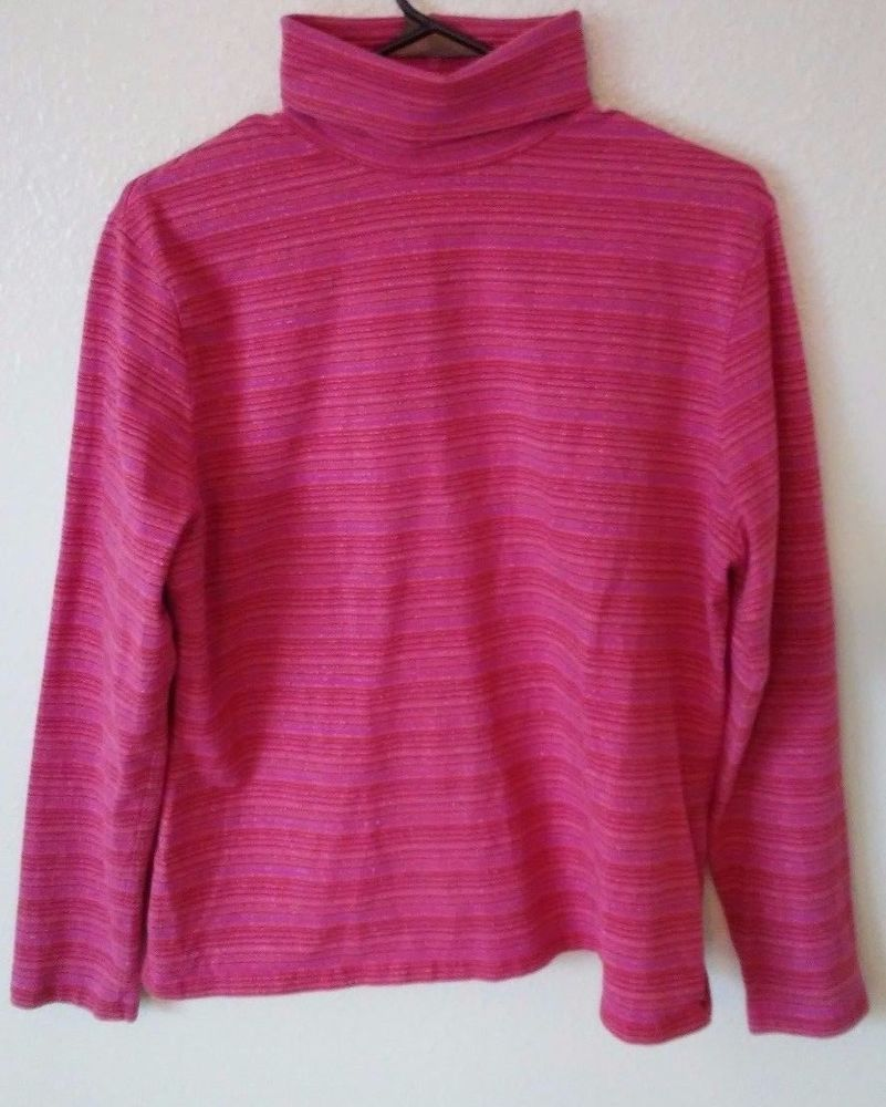 Details about St. Johns Bay Holiday Tinsel Striped Pink Sweater ...