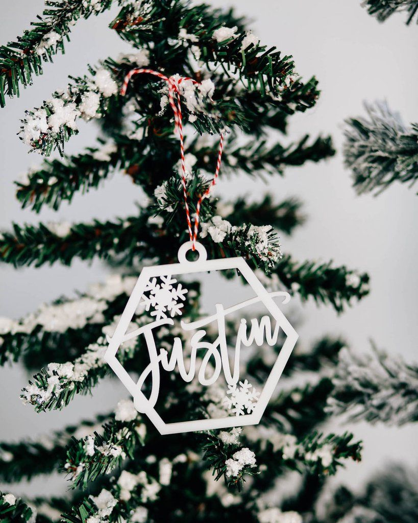 Custom Christmas Gifts.Snowflake Custom Name Christmas Ornament Acrylic Or Wood