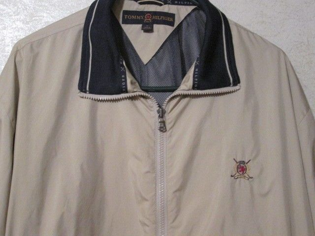 Mens Tommy Hilfiger Khaki Windbreaker Golf Preppy Coat Jacket Medium M  #TOMMYHILFIGER #Windbreaker
