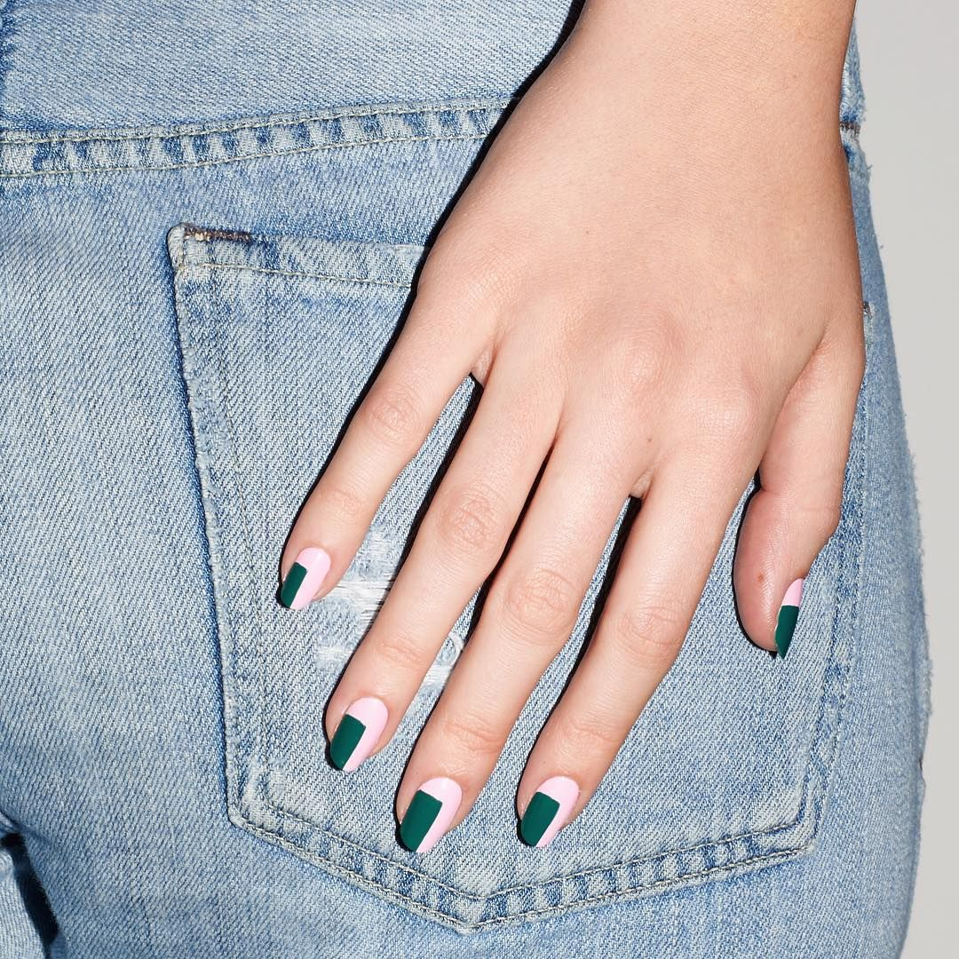 This pink and green Blockbuster mani looks anything but demure next ...