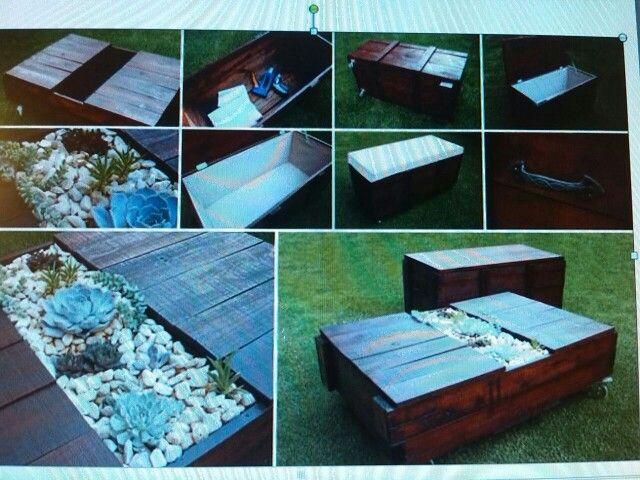 Mesa de palets para terraza con centro multiusos , como: macetero ...