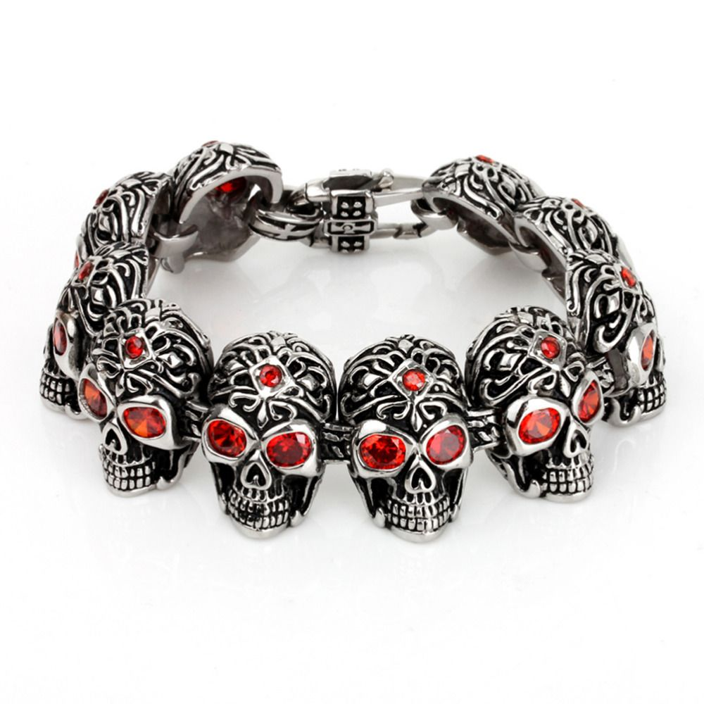 ==> [Free Shipping] Buy Best Men's Skull Bracelets With Red Evil Rhinestones Eyes Punk 316L Stainless Steel Halloween Bangle Online with LOWEST Price | 32776663323