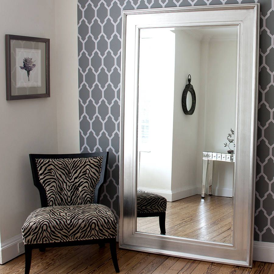 Black silver wide framed mirror dressing mirror