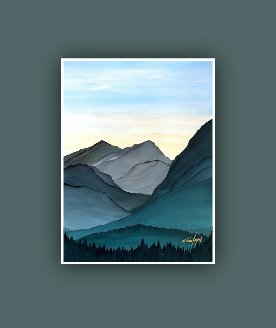 Abstract Japanese Painting Mountain Canvas Wall Art Picture Print