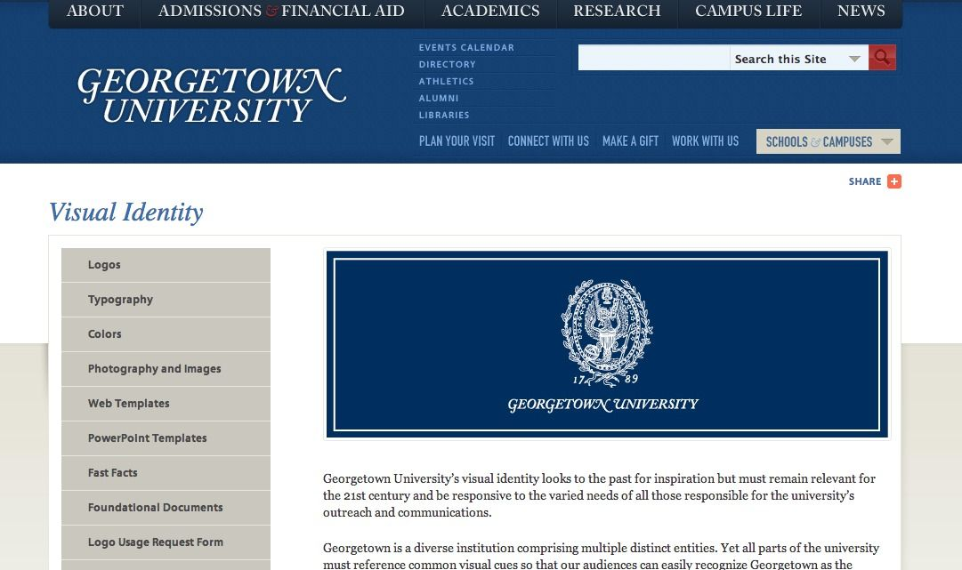 Georgetown Identity Guidelines Visual Identity Academic