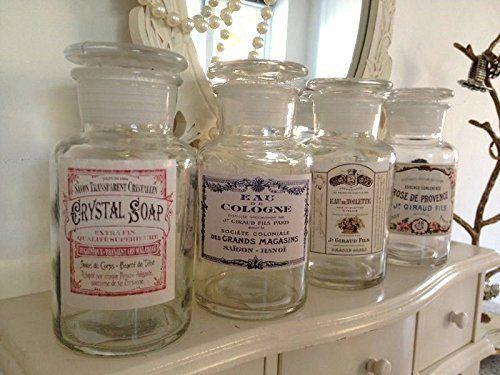 Dekorative Vintage Style Glasflasche Parfüm Pots Alters Französisch Labels & Deckel