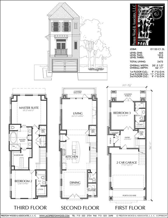 Three Story Townhouse Plan E1155 C1.2 | Town house floor ...