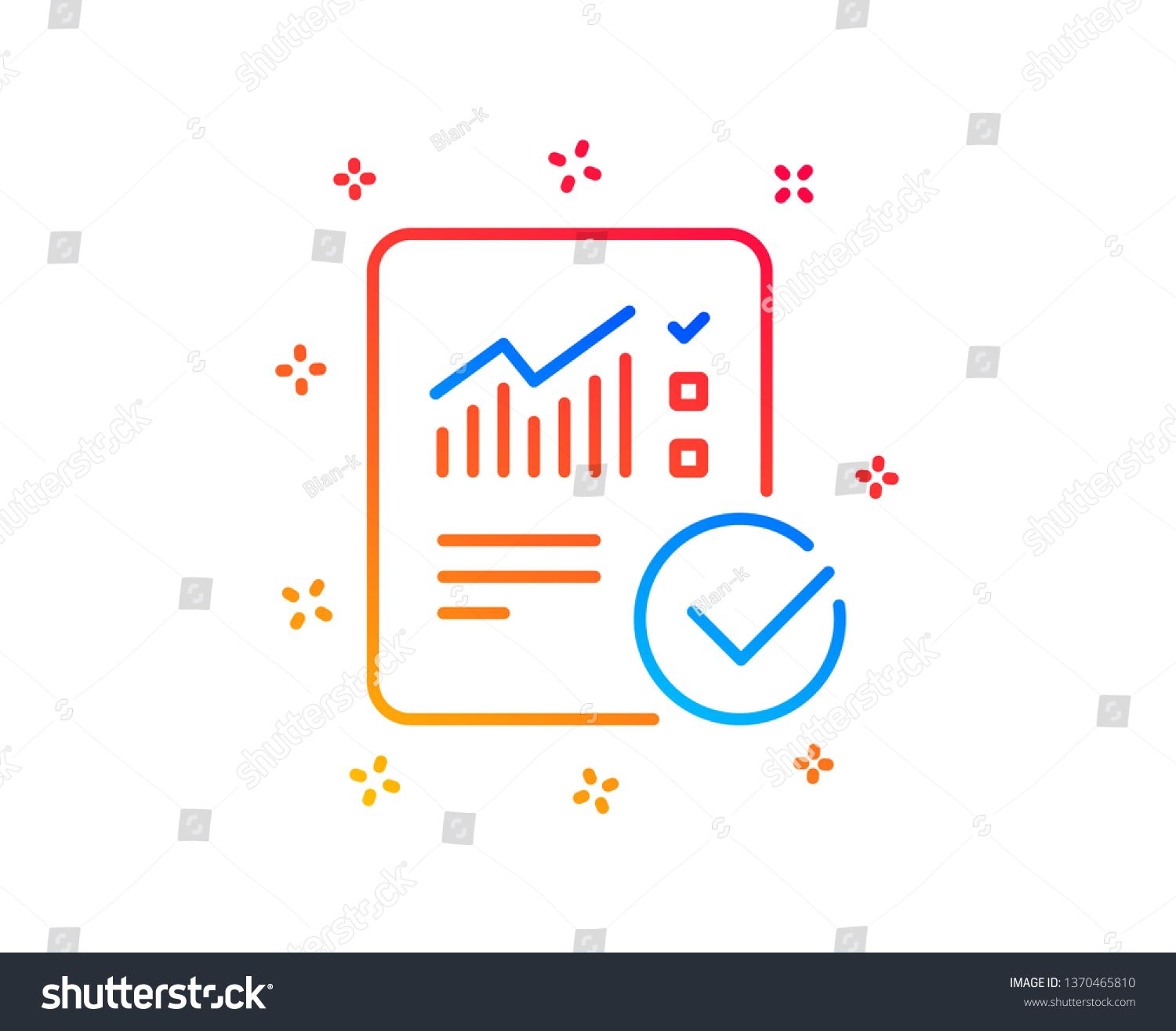 Checklist Document Line Icon Analysis Chart Or Sales Growth