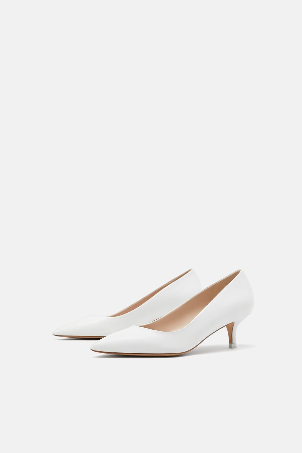 Image 1 Of Leather Mid Heel Shoes From Zara Heels Leather Heel Shoes White Leather Shoes