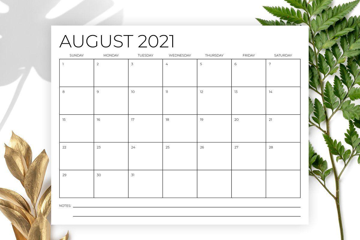8.5 x 11 Inch Minimal 2021 Calendar in 2020 Calendar
