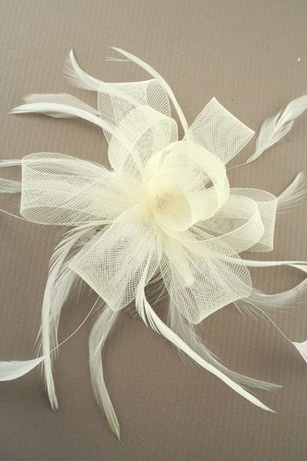 Black Fascinator with Veil & Feather Quill - Black