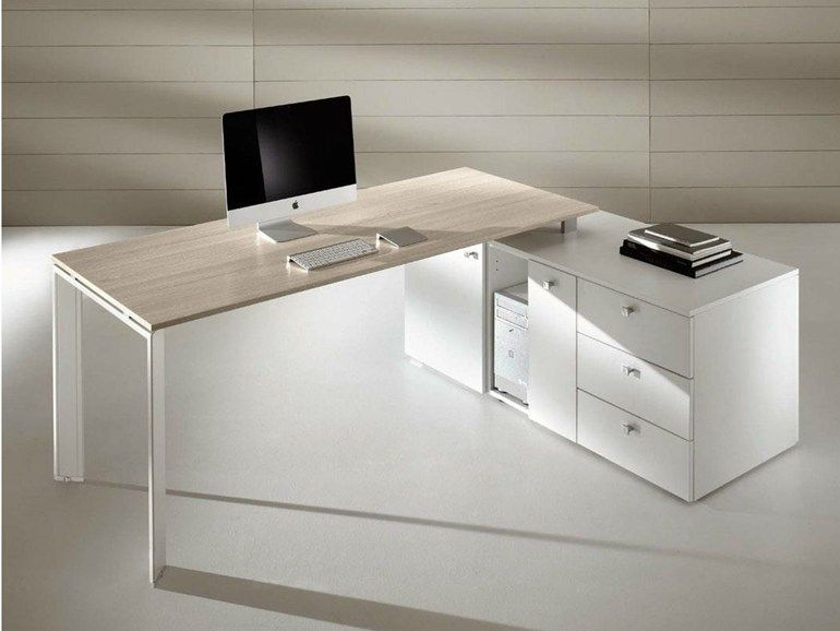 L-shaped workstation desk with drawers Cowork Collection by Ideal