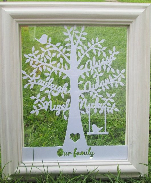 Beautiful family tree papercut in a 10x8inch floating frame | Family ...