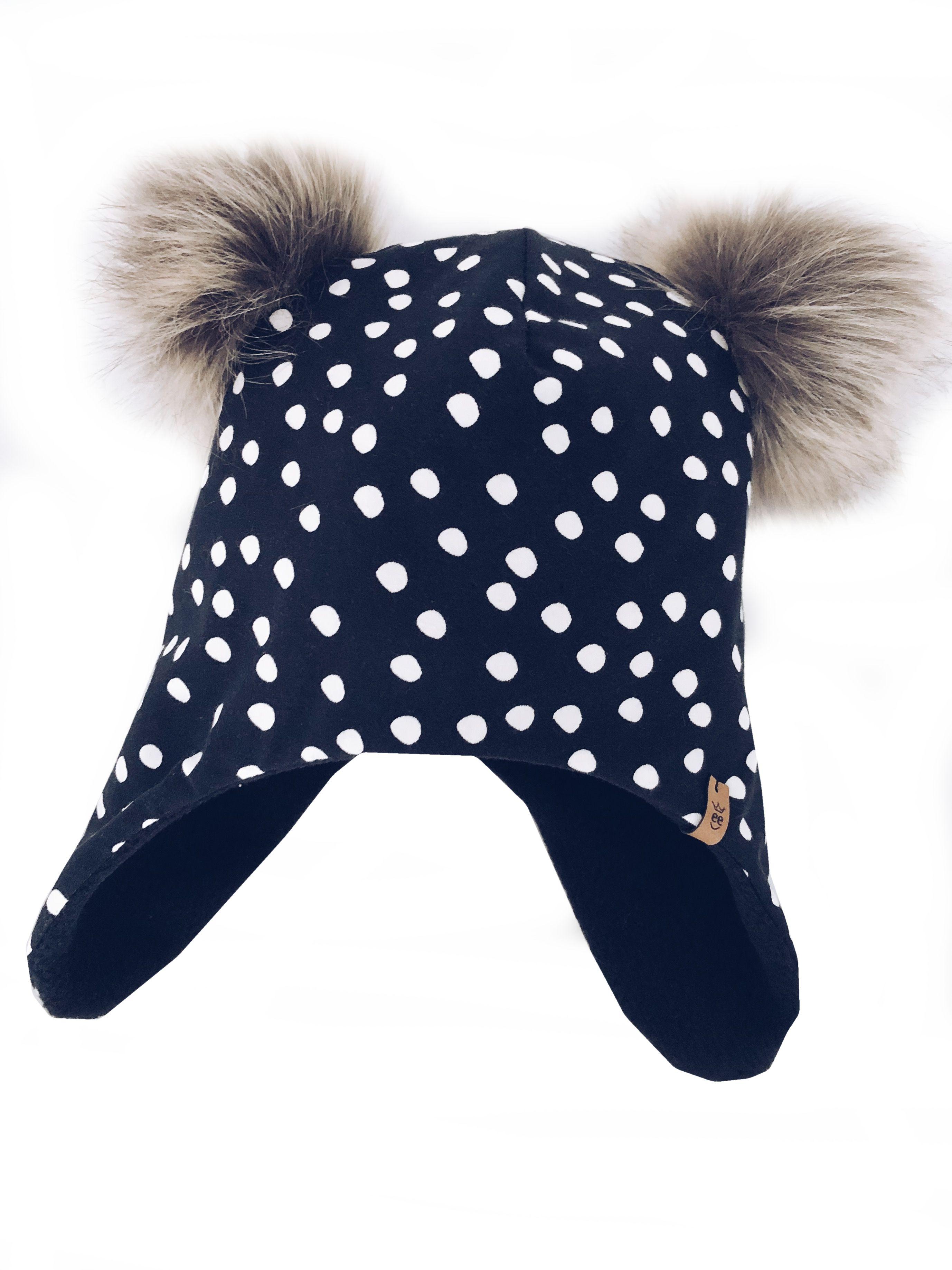 Wintermutze Maus In Schwarz Mit Punkten Wintermutzen Kindermutze Mutze