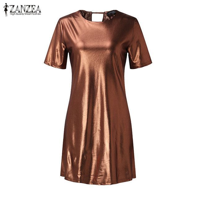 Womens Metal Color Casual Dress Short Sleeve O-Neck Mini Summer Fashion Plus Size S-5XL
