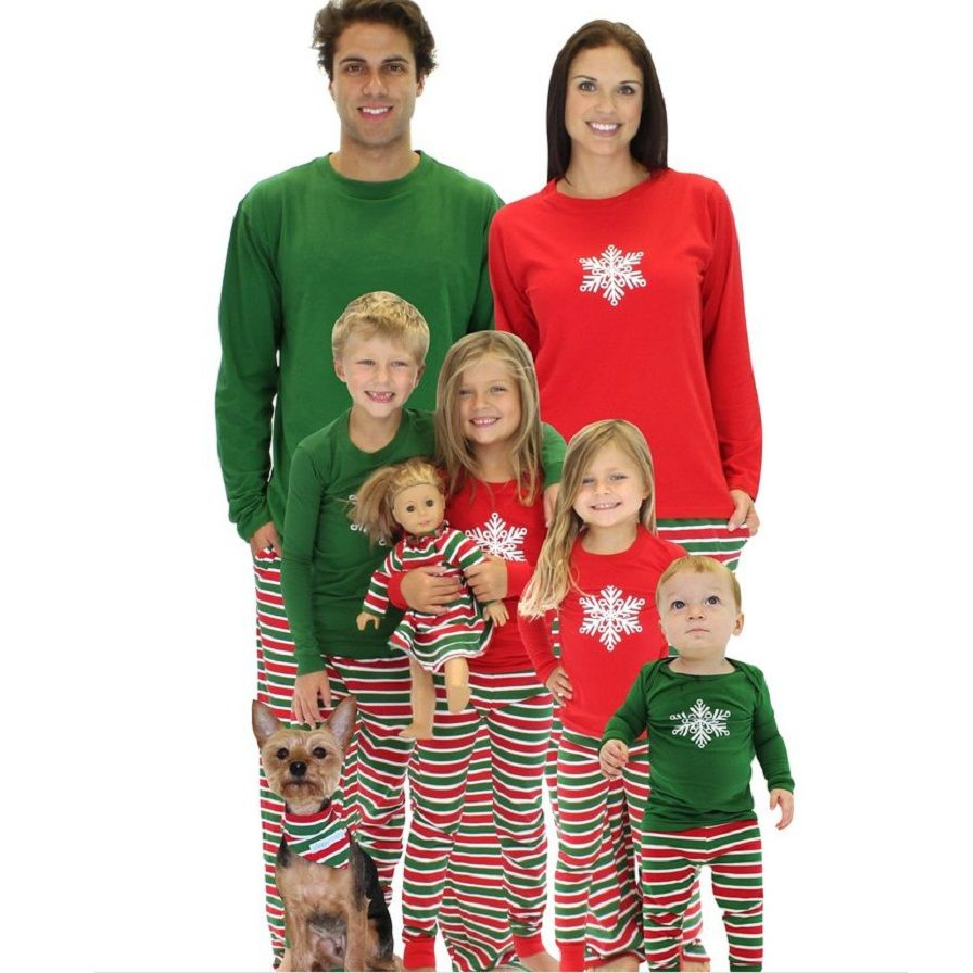 striped christmas family pajamas set snowflake mother daughter father son clothes family clothing sets family style set 3xl wx9