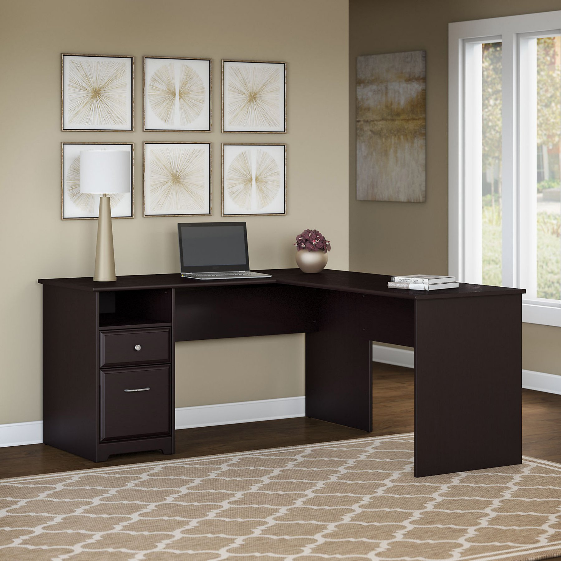 Bush Furniture Cabot L Shaped Computer Desk With Drawers And Optional