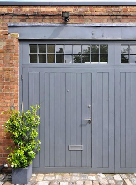 Red Brick Blue Grey Doors Prefect For Upstairs Living Room Garage Doors Garage Door Design Carriage House Doors