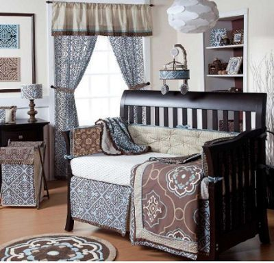 Image Detail For   Elegant Chocolate Brown And Baby Blue Damask Nursery  Bedding Set For A