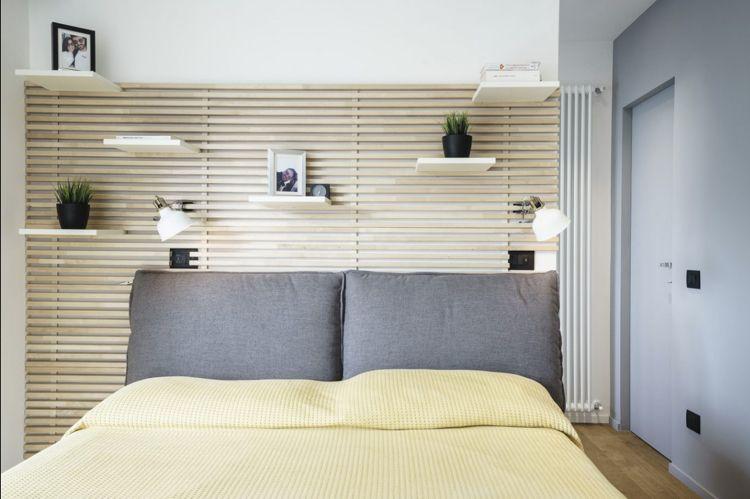 Schlafzimmer Wandgestaltung Wanddekoration Holz Latten Sweet