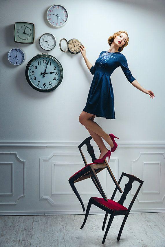 Gravity Skater dress / Autumn dress / Folded skirt by ZIBtextile
