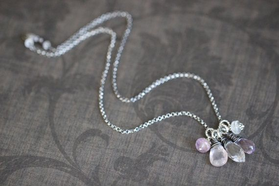 Gemstone Cluster Necklace Rose Quartz Purple by DezineStudio