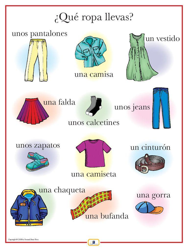 Spanish Clothing Poster Ensenanza De Frances Clases De Frances