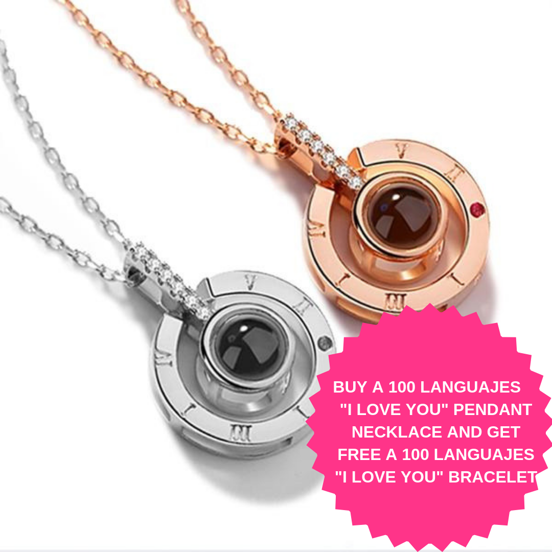 I Love You Necklace 100 Languages 925 Sterling Silver Projection Pendant Necklace Gifts For Her Wife Girlfriend Birthday Gift