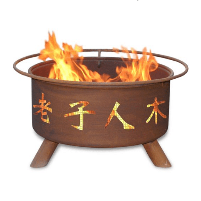 Chinese Symbols Steel Fire Pit by Patina Products Wood