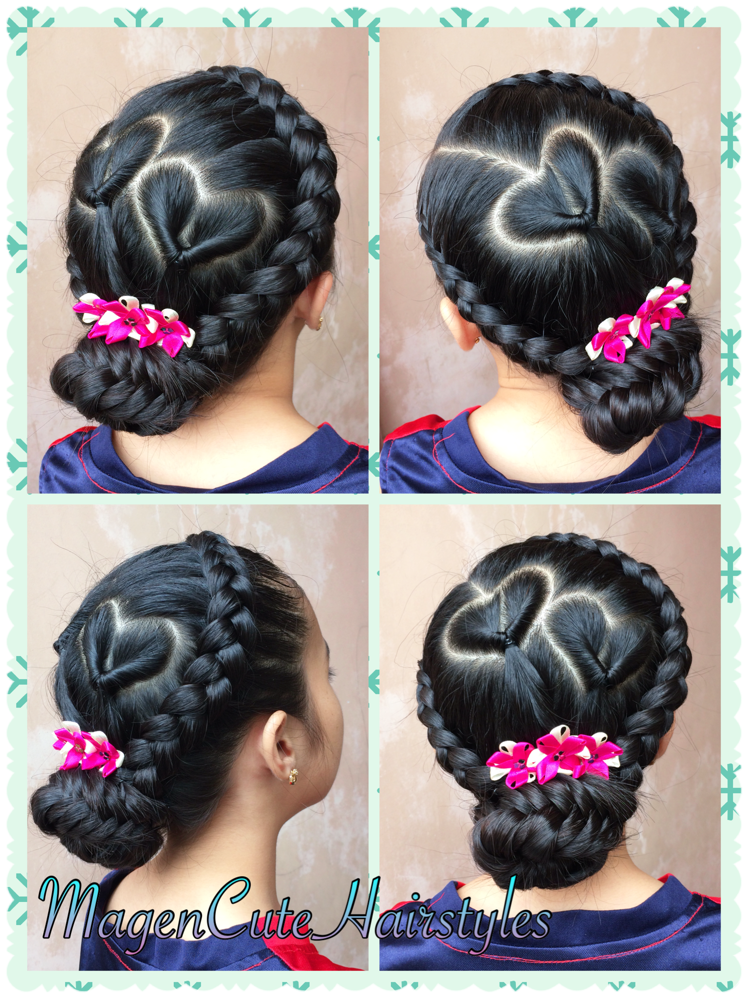 Heart Shape Pull Through With Dutch Braid Updo Braided Hairstyles Hair Dos For Kids Toddler Hair