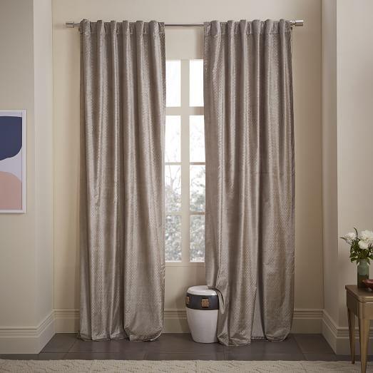 amusing living room west elm decorate shiny | Cotton Luster Velvet Metallic Diamond Printed Curtain ...