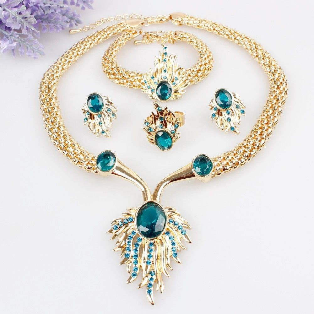 Gold plated crystal necklace bracelet earrings ring set wedding