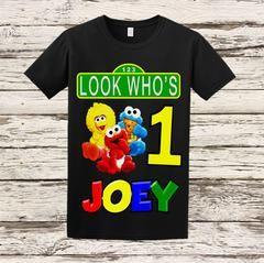 8d95a097 Sesame Street Custom Birthday Shirt - Sesame Street First Birthday Shirt -  Black Shirt Available #bellafashionkidz @BellaFashionKidz
