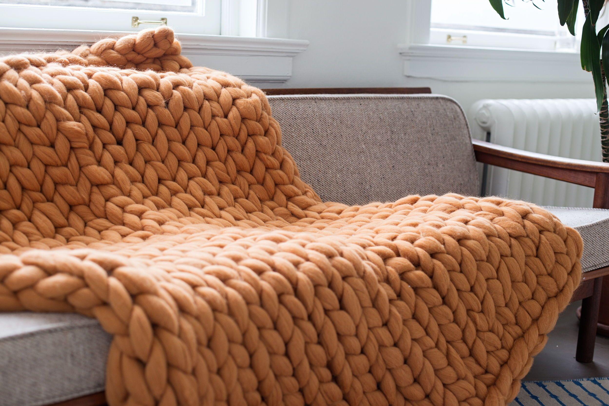 Mocha Merinowool throw Merino wool blanket, Super chunky