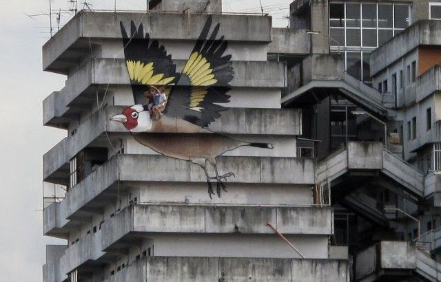 Artists Take a Ride on a 4 Story Goldfinch Painted on an Abandoned Building in Naples