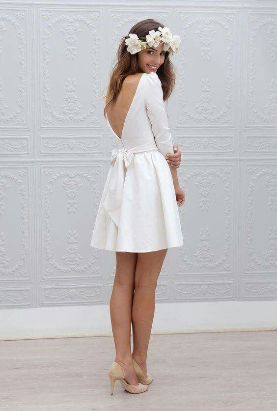 courthouse wedding white short wedding dress