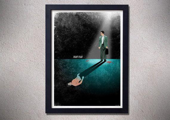 Fight club poster,alternative movie poster,fight club,brad pitt,Edward Norton,art,design,movie poster,digital print
