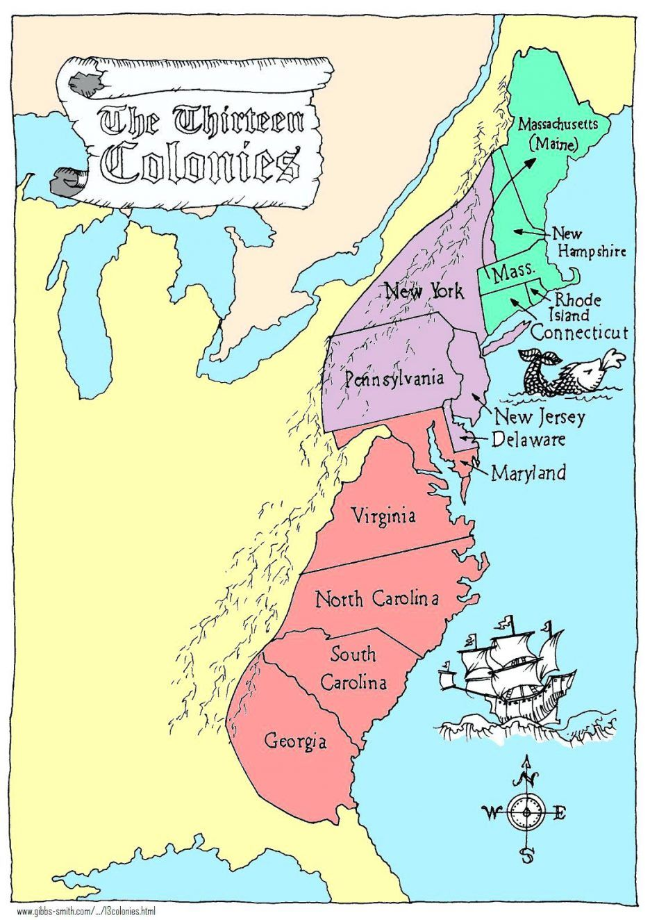 Coloring Pages: 13 Colonies Map Printable Labeled With Cities Blank on