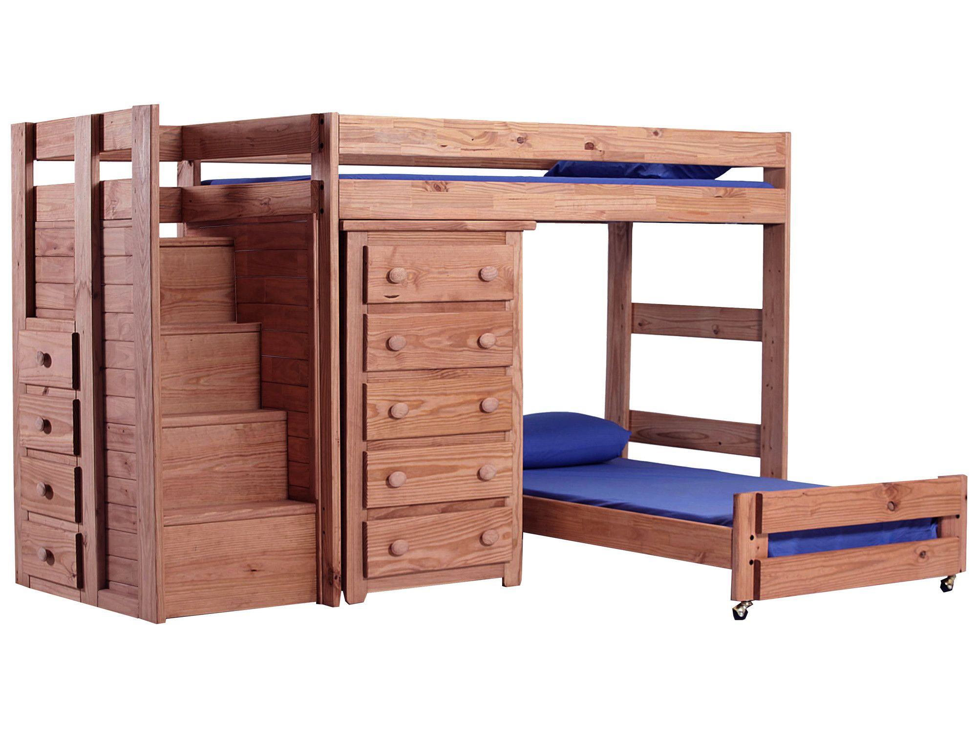 Twin Over Twin L Shaped Bunk Bed With 5 Drawer Chest And Staircase