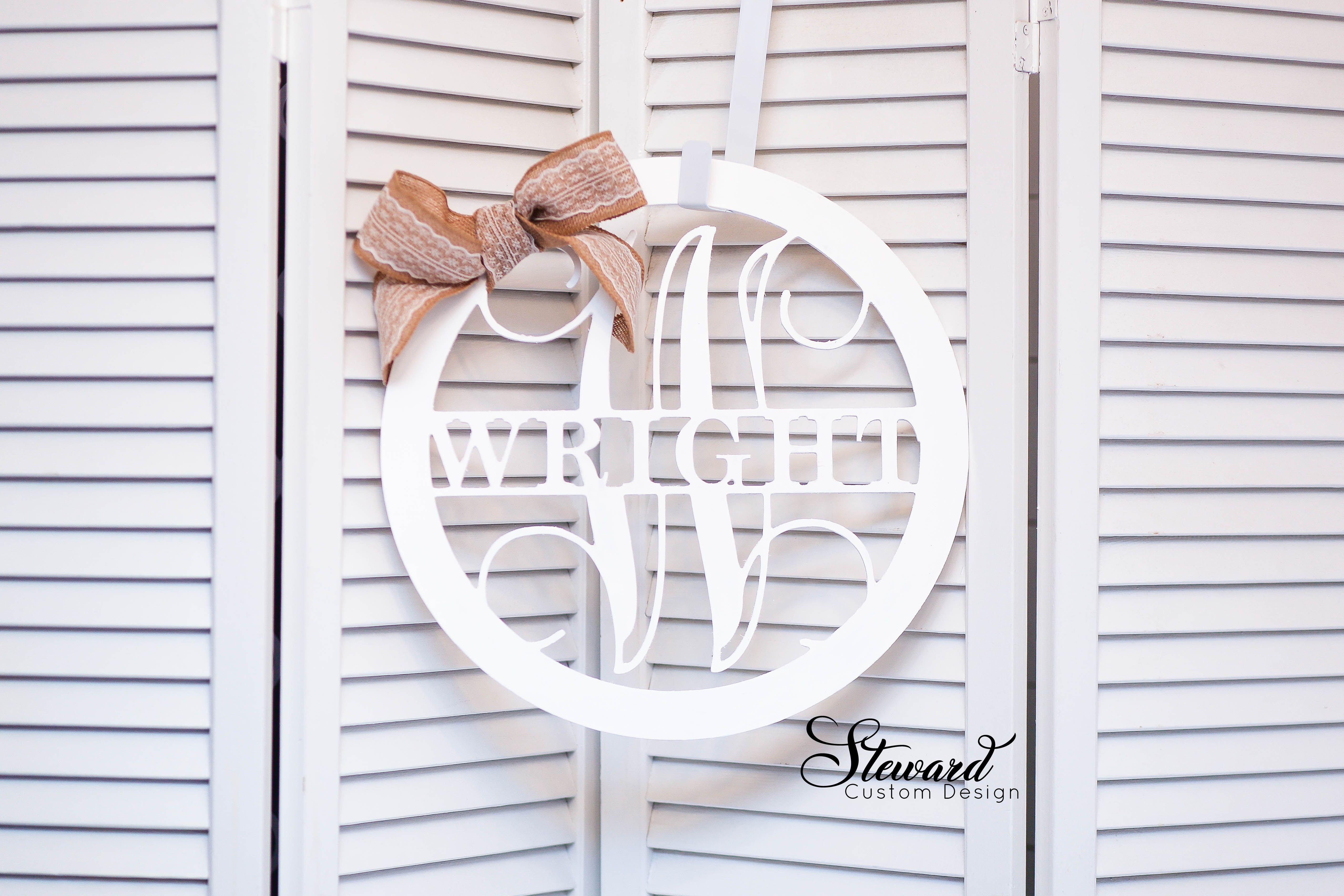 Personalized Door Hanger Last Name Sign Custom Name Door Etsy In 2020 Monogram Door Wreath Door Decorations Door Hangers Diy