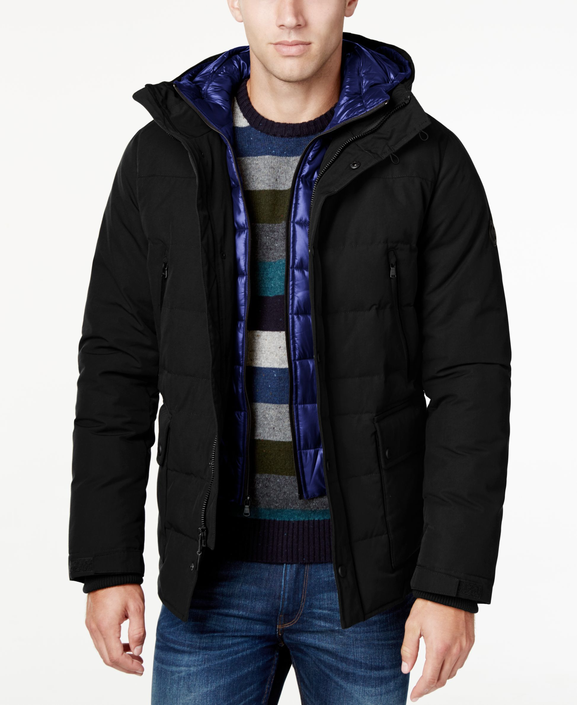 97f1fd788a9 Michael Michael Kors Men s Hooded Puffer Coat with Attached Bib ...
